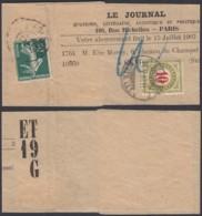 """FRANCE Yv 137 SUR IMPRIME JOURNAL 1907 """"LE JOURNAL"""" VERS LA SUISSE ET TAXE (6G23466) DC-1635 - 1906-38 Säerin, Untergrund Glatt"""