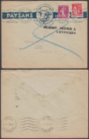 """FRANCE YV 190+283 SUR LETTRE DECO DE AUXERRE 1915 VERS VICHY """"INADMIS RETOUR (3G35763) DC-1643 - 1906-38 Säerin, Untergrund Glatt"""