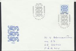 58-11 Estonia Tallinn FDC 19.01.1998 From Post Arrival Postmark - Estonia