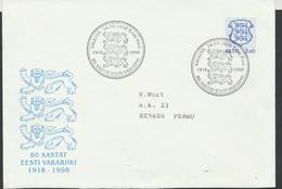 58-17 Estonia Tallinn State Anniversary Cancellation 24.02.1998 From Post Arrival Postmark - Estonia