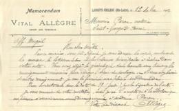 LAVOUTE CHILHAC HAUTE LOIRE MEMORANDUM DE VITAL ALLEGRE EXPERT DES TRIBUNAUX AVEC ENVELOPPE - France