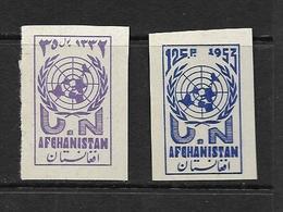 AFGHANISTAN 1953 JOURNEE DES NATIONS-UNIES 1953   YVERT N°409/10 NON DENTELES  NEUF MNH** - Afghanistan