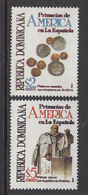 1994 Dominican Republic Dominicana American Firsts Coins Monnaie Sermon Complete Set Of 2 MNH - Dominicaine (République)