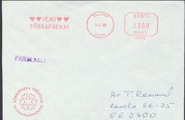 58-22 Estonia Tallinn Friends Day Cover 14.02.1998 Printed Matter From Post Arrival Postmark - Estonia