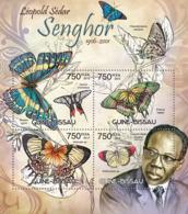 Guinea Bissau 2012 Senghor (former President Of Senegal) And Butterflies - Guinea-Bissau