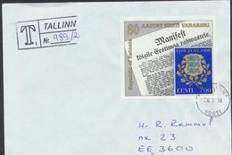 58-24 Estonia Tallinn 06.02.1998 Recommande From Post Arrival Postmark - Estonia