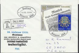 58-25 Estonia Tallinn FDC 06.02.1998 Recommande From Post Arrival Postmark - Estonia