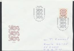 58-33 Estonia Tallinn FDC 16.03.1998 From Post Arrival Postmark - Estonia