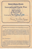United States Senate  1987  International Guest Pass To The Senate Gallery  #  16616 D - Visiting Cards