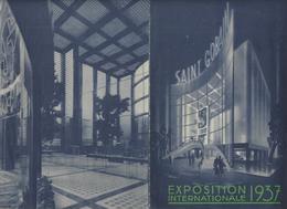 PAVILLON-SAINT GOBAIN-EXPOSITION INTERNATIONALE-GLACES-VERRES A VITRE-BOUTEILLES-ISOLATEURS-ACIDES-ENGRAIS-CARBONATE- - Publicités