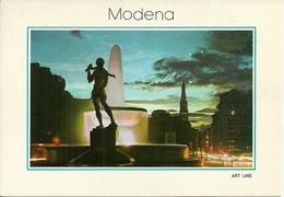 Modena (Emilia R.) Piazza Garibaldi, La Fontana, Notturno - Modena