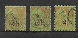 Colonie Timbre De Réunion De 1891  N°29/30 + N°31a  Oblitéré (cote 41€) - Réunion (1852-1975)