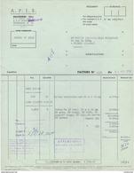 01 BELLEGARDE Sur Valserine FACTURE 1958 A.P.I.S.boîtes Tubes  - Z14 AIN - France