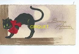 Fêtes, Mini Carte De Voeux Bonne Année, Chat Noir Avec Ajout D'un Véritable Ruban - New Year