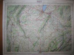 Annecy Genève Carte état Major 1/100000 1960 Bellegarde Bonneville Viu Zbrizon - Cartes Topographiques