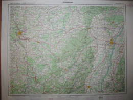 Strasbourg Carte état Major 1/250000 1962 Colmar Nancy Epinal St Dié Saverne - Cartes Topographiques
