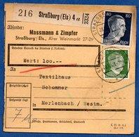 Colis Postal  -  Départ Strasbourg 4  -  28/12/1943 - Allemagne