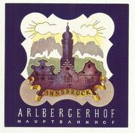 Vintage Luggage Label - Innsbruck Hotel Arlbergerhof Hauptbahnhof Austria - Hotel Labels