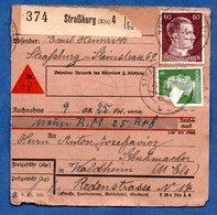 Colis Postal  -  Départ Strasbourg 4  - Pour Waldheim   --  24/11/1943 - Alemania