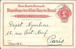 """Entier Postal Repiquage Privé """"American Bank Note..."""" De Rio De Janeiro Pour Paris 05/05/1916 - Entiers Postaux"""
