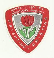 Vintage Luggage Label - Hotel Kosovski Bozur Pristina Kosovo - Hotel Labels