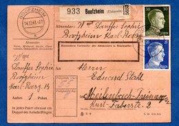 Colis Postal  -  Départ Boofzheim  -  14/12/1943  - Avec Rabat - Allemagne