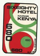 Vintage Luggage Label - Hotel Sixeighty 680 Nairobi Kenya - Etiketten Van Hotels