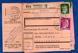 Colis Postal  -  Départ Saarbrücken 1 -  14/12/1943  -  Avec Rabat - Allemagne