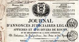 JOURNAL Annonces JUDICIAIRES LEGALES De Rouen 1825 (Affiches Et Avis Divers) - Décrets & Lois