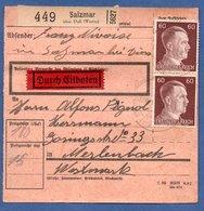 Colis Postal  -  Départ Salzmar ( Marsal ) --  10/3/1943 - Germany