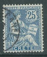 Crète N° 9 O Type Mouchon : 25 C. Bleu,  Oblitération Moyenne Sinon TB - Usati