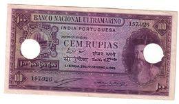 Portuguese India 100 Rupias 29/11/1945 Cancelled - India