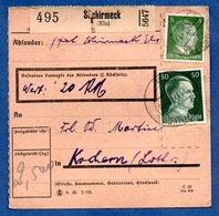 Colis Postal  -  Départ Schirmeck -  21/12/1942  - Pour Cocheren  -  Abimé - Allemagne
