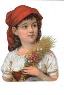 Grand Découpi :  Jeune Fille Avec Bouquet Fleurs - Children