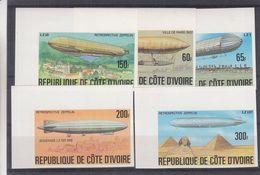 Zeppelins - Côte D' Ivoire - Yvert 434 / 35 ** - NON Dentelés - Piramides - Cheops - Bodebsee - Zeppelins