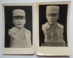PHOTO ET CARTE POSTALE - PETAIN - BUSTE - SCULPTURE - ANNEE 40 - ANNOTATIONS ET CACHET DU PHOTOGRAPHE - PERPIGNAN - Documents