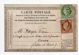 - FRANCE - Carte Postale PARIS Pour TOURS 30.4.1874 - 5 C. Vert-jaune S. Azuré + 10 C. Brun S. Rose Type Cérès - - Postmark Collection (Covers)