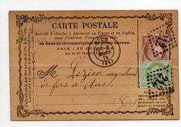 - FRANCE - Carte Postale AUCH 3.3.1875 - 5 C. Vert-jaune S. Azuré + 10 C. Brun S. Rose Cérès Oblitérés Losange GC 212 - - Postmark Collection (Covers)
