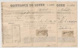 Timbre QUITTANCE 10C (2 Nuances) Sur 2 Quittance De Loyer 1913 - France