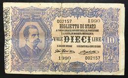 10 LIRE VITTORIO EMANUELE III° EFFIGE UMBERTO I° 11 10 1915 RARA Taglietto Q.bb LOTTO 068 - [ 1] …-1946: Königreich