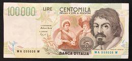 100000 Lire CARAVAGGIO 2° TIPO SERIE A 1994  LOTTO 2160 - [ 2] 1946-… : Républic