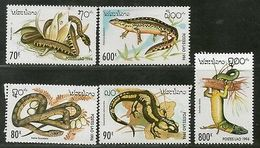 Laos 1994 Reptiles Snake Lizard Wildlife Animals Sc 1178-82 MNH # 2197 - Snakes