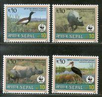 Nepal 2000 WWF Florican Horn Rhinoceros Bird Wildlife Animals Sc 682-5 MNH 12826 - Nepal