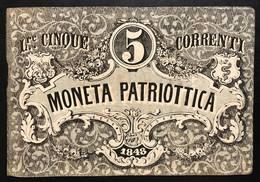 Venezia 5 Lire Moneta Patriottica 1848 Firma Barzilai  LOTTO 2265 - [ 4] Emisiones Provisionales