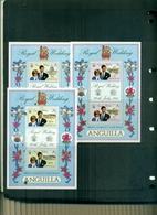 ANGUILLA NOCES CARLO-DIANA 3 MINI-FEUILLES  NEUFS A PARTIR DE 0.75 EUROS - Familles Royales
