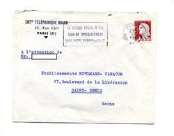 Lettre Flamme Paris Cheque à Vue - Marcophilie (Lettres)