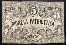 Venezia 5 Lire Moneta Patriottica 1848 Firma Barzilai  LOTTO 2327 - [ 4] Voorlopige Uitgaven
