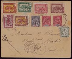 Lettre Du CONGO, CAP LOPEZ Avec 10 Timbres Dont Une Taxe à L'arrivée. 1909 - Covers & Documents