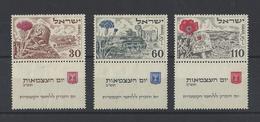 ISRAEL.  YT   N° 54/56  Neuf Sans Gomme  4e Anniversaire De L'Etat  1952 - Israel