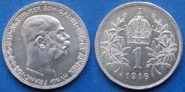 AUSTRO-HUNGARIAN EMPIRE - Silver Corona 1916 KM# 2820 Franz Joseph I - Edelweiss Coins - Autriche